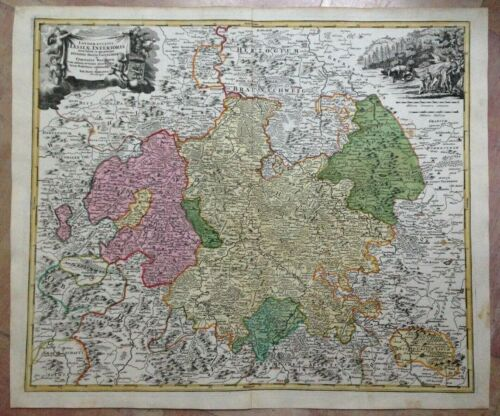 GERMANY LOWER HESSEN JB HOMANN 1720 LARGE ANTIQUE COPPER ENGRAVED MAP
