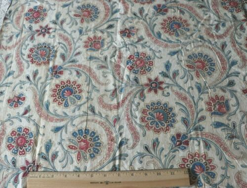 """Rare Scrolly Indienne Hand Blocked French Antique c1820 Cotton Fabric~53""""X25.5"""""""