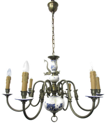 Delft Blue White Porcelain Ornate Brass Chandelier Dutch 6 Arms  6 Lights Fish