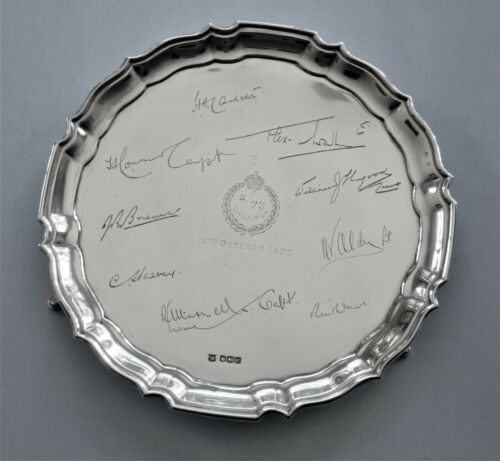 Sterling silver tray/salver 2/73 Malabar India dated 10th October 1920.