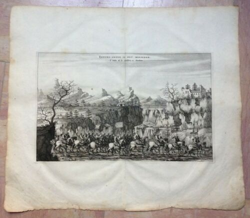 CHINA THE MARCH OF THE CAVALRY 1665 by NIEUHOF LARGE ANTIQUE VIEW 17e CENTURY
