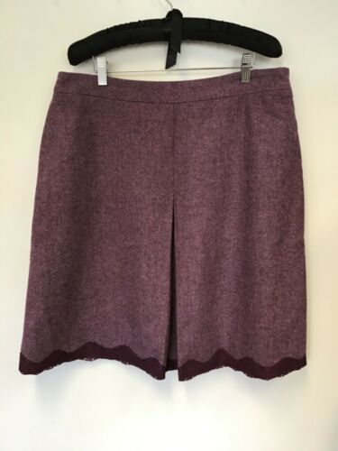 CHARLES TYRWHITT HEATHER LACE TRIM  100% WOOL A LINE SKIRT SIZE 16