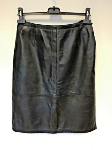 BETTY BARCLAY BLACK LEATHER KNEE LENGTH PENCIL SKIRT SIZE 10