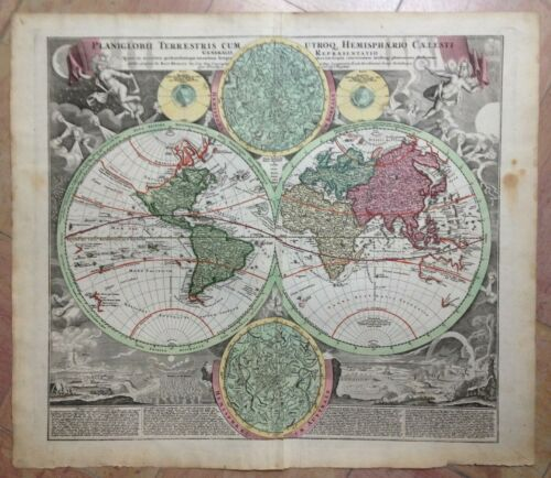 CELESTIAL WORLDMAP 1720 by JB HOMANN UNUSUAL LARGE ANTIQUE ENGRAVED MAP
