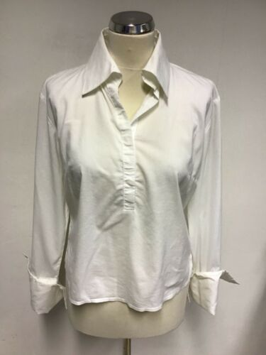 SISLEY WHITE FITTED COTTON BLEND LONG SLEEVE SHIRT SIZE M