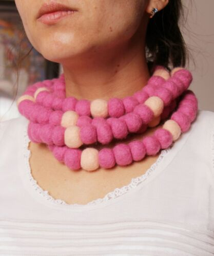 """Handmade hand felted wool scarf-necklace """"Pink beads"""""""