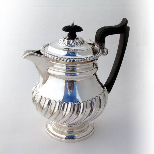 English Fluted Hot Water Jug Wooden Handle Sissons Sterling Silver 1902