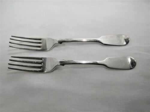 Antique sterling silver pair of table forks c 1846 Dublin Ireland.