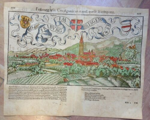 XVIe SIECLE 1552 FRIBOURG SWISS by SEBASTIAN MUNSTER COSMOGRAPHY ANTIQUE MAP