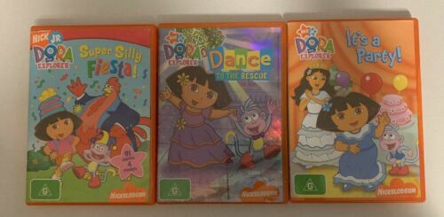3x Dora The Explorer DVD - Dance To The Rescue, Super Silly Fiesta, It's a party