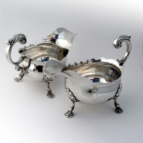 English Sauce Boats Pair Edward Aldridge Sterling Silver 1749 London