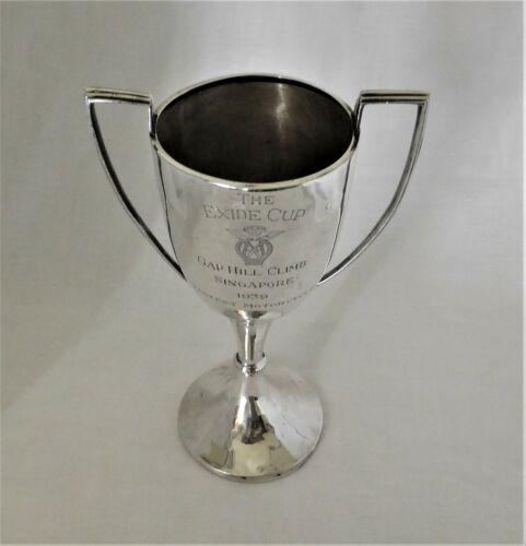 Antique sterling silver The Exide Cup Motorcycle trophy Singapore c 1939.