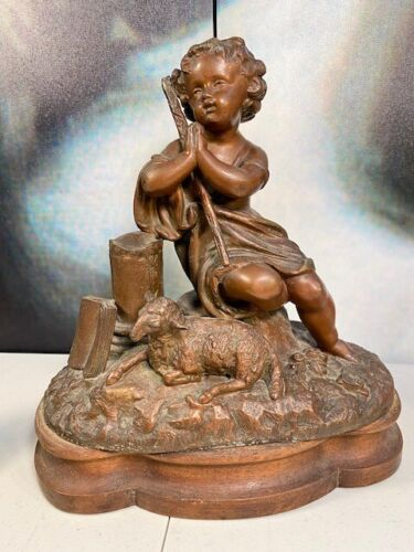 Gorgeous Antique 19th Century French Oak & Spelter Child with Lamb Figurine