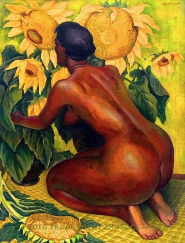 """Nude Woman With Sunflowers 8.5x11"""" Photo Print Diego Rivera Fine Art Naked Lady"""
