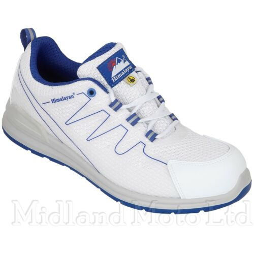Himalayan Safety Trainer S1P ESD Metal Free White with Blue, Composite Toe 4330