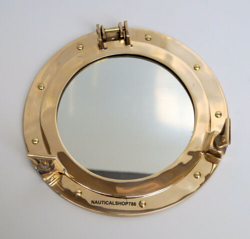 "12"" Antique Brass Porthole Nautical Maritime Ship Boat Wall Mirror Home Decor"