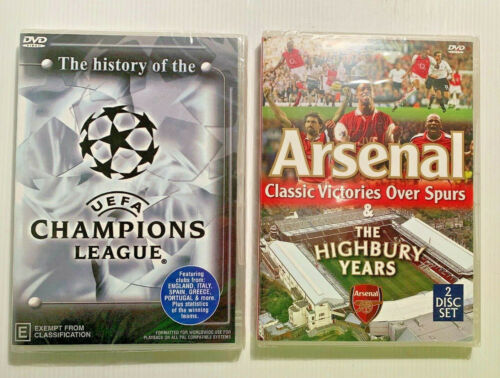 2 x SOCCER DVDS - History of the UEFA Champions League & Arsenal Victories NEW