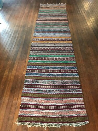 Exceptional Swedish Hand Made Rag Rug (27 inches X 118 inches)