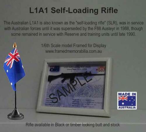 Support display stand for L1A1 SLR bayonet with engraved metal plate