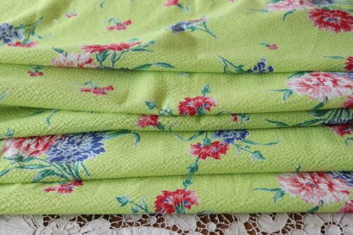 "Chartreuse & Red Floral Never Used Vintage Cotton SeerSucker Fabric~83""X36"""