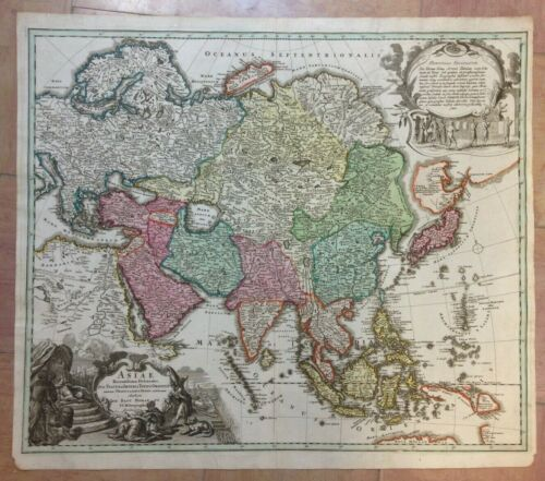 ASIA by JB HOMANN c 1720 LARGE UNUSUAL ANTIQUE ENGRAVED MAP 18e CENTURY