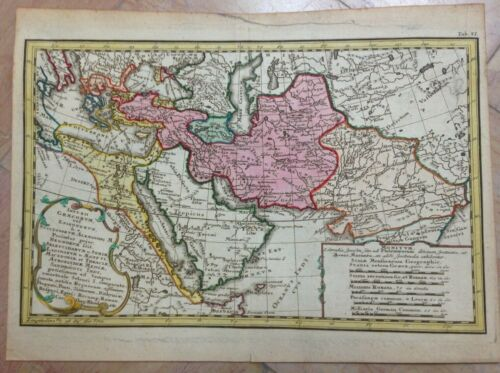 MIDDLE EAST GREEK EMPIRE 1742 by HASE & HOMANN HRS NICE ANTIQUE MAP 18e CENTURY