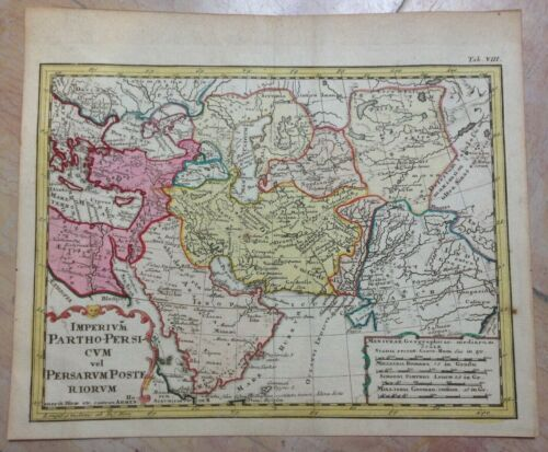 MIDDLE EAST EMPIRE OF PARTHIAN 1742 HASE-HOMANN HRS NICE ANTIQUE MAP 18e CENTURY