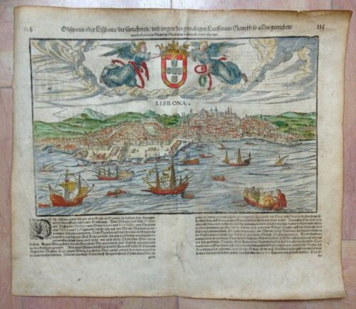 PORTUGAL LISBON 1628 XVIIe SIECLE COSMOGRAPHY OF SEBASTIAN MUNSTER ANTIQUE VIEW
