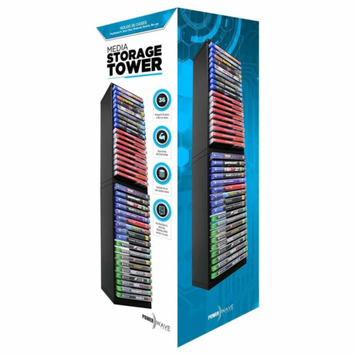 Powerwave Media Storage Tower [Fits 36 Cases] (PS4/XB1/Switch/Blu-Ray)