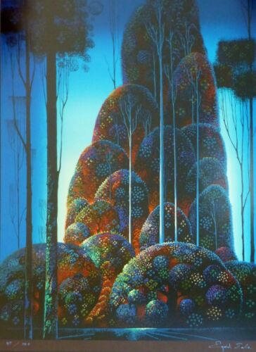 """Eyvind Earle """" TALL TREES """" Hand signed numbered Serigraph 1987"""