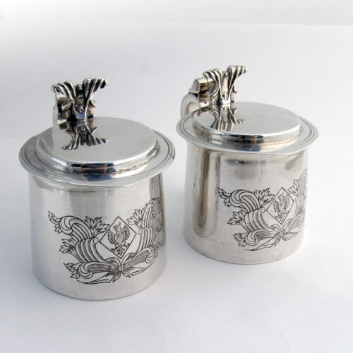 American Colonial Style Lidded Tankards Pair Engraved Sterling Silver