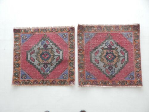Pack of 2 Square 2x2 Vintage Oushak Turkish Oriental Area Rug Hand-Knotted WOOL