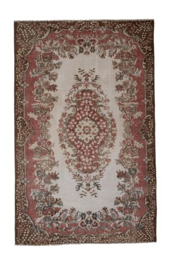 Vintage Hand Knotted Turkish Oushak Rug 5.8 x 9.1 ft. for Home and Office Decor
