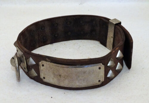 Antique Leather and silvered Brass Dog Collar 19th century