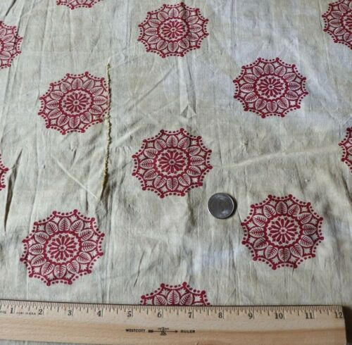"French Antique c1810 Medallion Block Printed Fabric~L-20"" X W-18"""