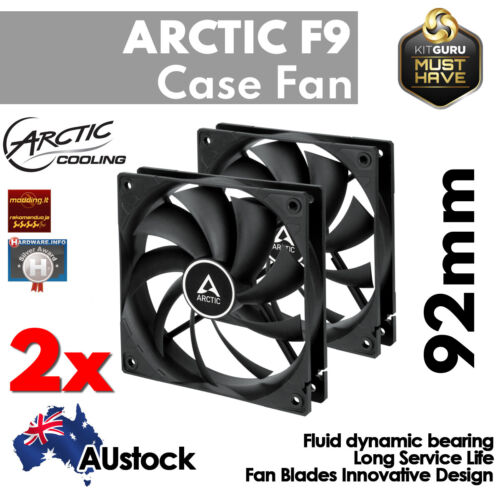 2x Arctic Cooling 92mm Computer PC Case Fan Cooling Cooler 3-Pin Silent Quiet