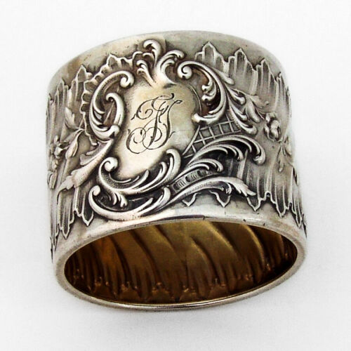 German Baroque Style Napkin Ring Wilhelm Binder 800 Silver Mono FT