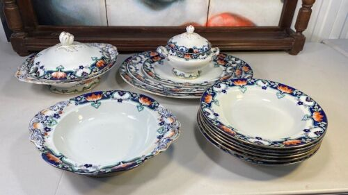 Antique English Victorian Alfred B Pearce Dinner Set Plates Tureens Platters