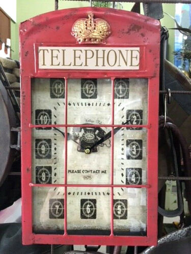 """""""TELEPHONE BOOTH"""" BRITISH STYLE WALL CLOCK RED"""