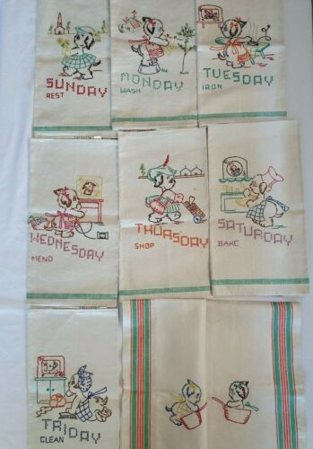 Vintage Embroidered Pure Linen Day Of The Week Tea Towels + kitty