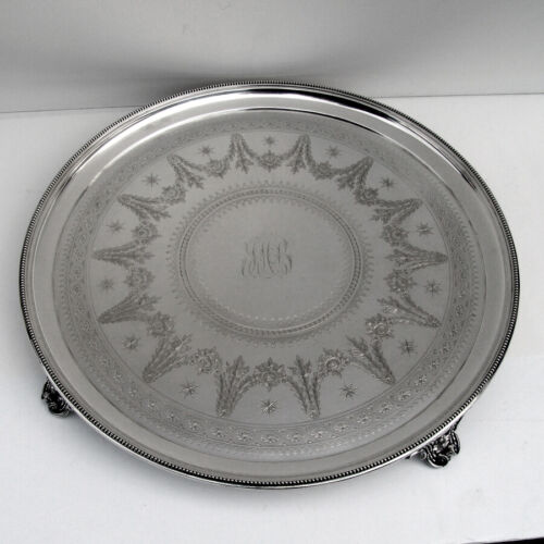 English Engraved Footed Salver Tray Elkington Silverplate 1884 Mono JHB