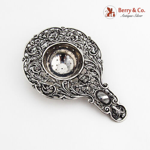 Baroque Style Openwork Tea Strainer Rams Head Finial 800 Silver