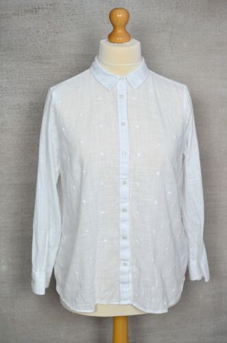 MARKS & SPENCER M&S White cotton spotty embroidered shirt 16