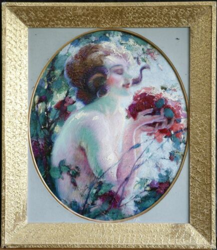 FAIRY GIRL WITH FLOWERS by LEO FONTAN (1884-1965) FRENCH OIL PAINTING ON PANEL