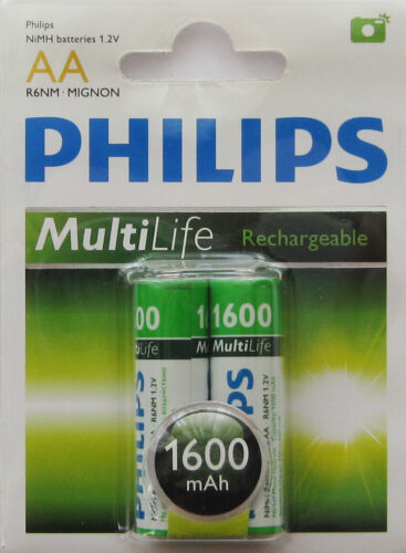 Philips Multi Life Rechargeable AA Batteries 2 Pack **Brand New**