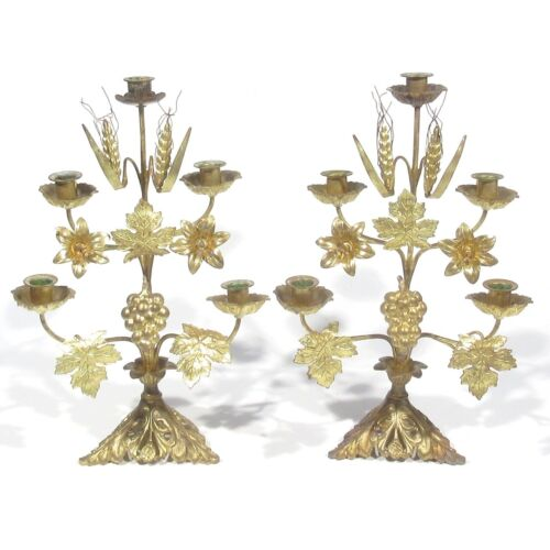 Pair of Antique French Church Candelabras, Gilded Bronze, Tole, Easter, Lilies