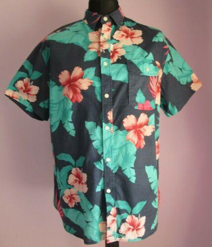 VTG Mens MOSSIMO SUPPLY Blue Multi Floral Cotton Hawaiian Shirt Size Large (w14)