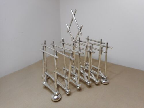 RARE ANTIQUE MODERNIST EXPANDABLE CHRISTOPHER DRESSER TOAST RACK SILVERPLATED