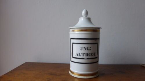 Antique Porcelaine French Apothecary jar XIXth. Pot pharmacie. pharmacy.Althoeae