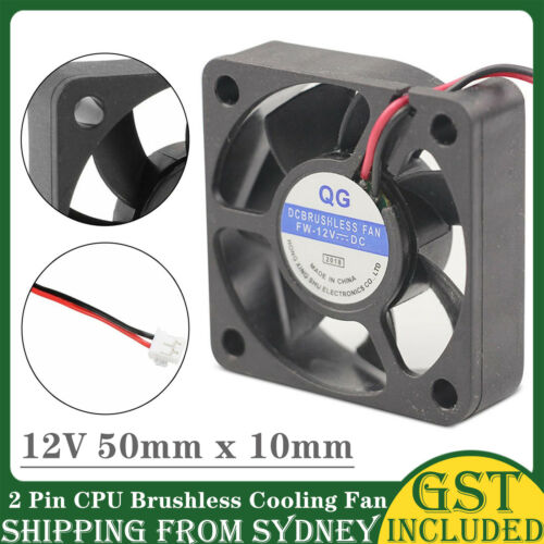 12V 50x10mm 2 Pin CPU Brushless Cooling Fan For PC Cooler Heat Sink Black RPM SC